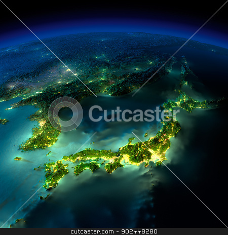 Night Earth. A piece of Asia - Japan, Korea, China stock photo, Highly detailed Earth, illuminated by moonlight. The glow of cities sheds light on the detailed exaggerated terrain and translucent water of the oceans. Elements of this image furnished by NASA by Antartis