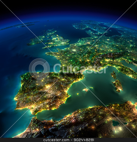 Night Earth. A piece of Europe - Spain, Portugal, France stock photo, Highly detailed Earth, illuminated by moonlight. The glow of cities sheds light on the detailed exaggerated terrain and translucent water of the oceans. Elements of this image furnished by NASA by Antartis