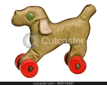 vintage toy dog stock photo, vintage toy dog with red wheels on white background, clipping path by RedDaxLuma