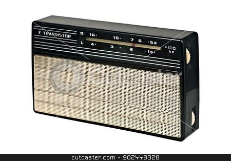 vintage transistor radio recevier stock photo, vintage transistor radio recevier isolated on white background,clipping path by RedDaxLuma