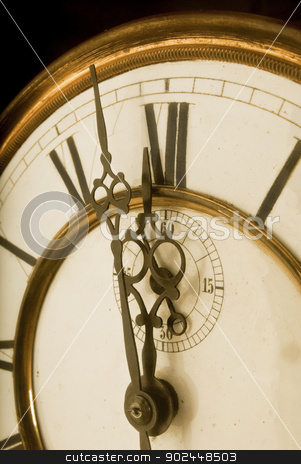 One minute to 12 Oclock stock photo, Old clock face with roman numerals  by Fenton