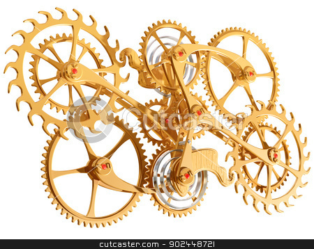 Cogs and gears stock photo, Isolated illustration of precision cogs and gears by Paul Fleet