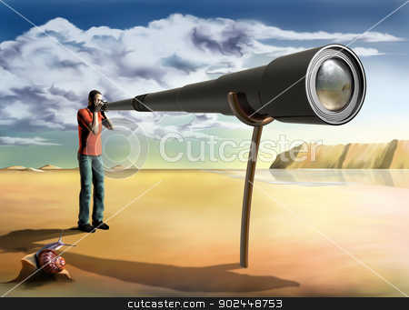 Surreal photographer stock photo, Surreal illustration of a photographer using an unfeasibly long lens by Paul Fleet