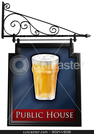 Isolated pub sign stock photo, Illustration of an isolated antique style pub sign by Paul Fleet