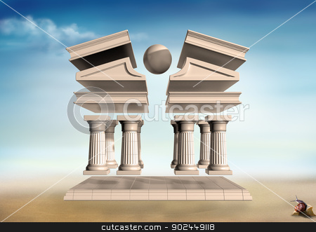 Surreal Greek Temple stock photo, Original illustration of a deconstructed Greek Temple in a barren landscape by Paul Fleet