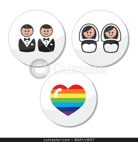 Gay / lesbian wedding icons set stock vector clipart, Lesbian, gay, glbt community marriage labels set isolated on white by Agnieszka Murphy