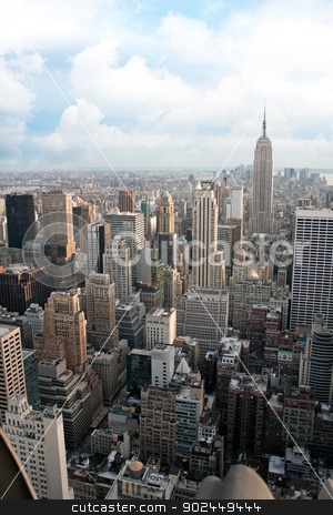 NYC Aerial View stock photo, Vertical aerial view of the Manhattan section of New York City including all of the buildings and skyline. by Todd Arena