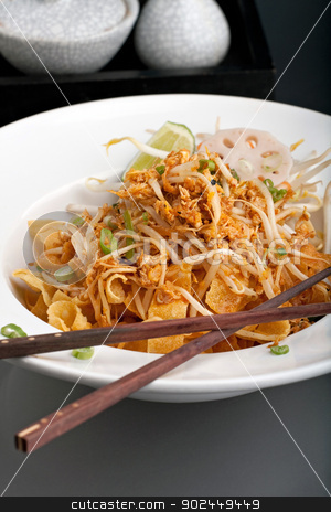 Thai Food Noodles stock photo, A Thai dish of crispy noodles and bean sprouts in a large white bowl with chop sticks. by Todd Arena