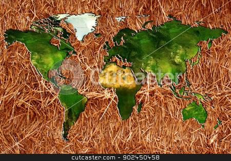world map in relief stock photo, a planisphere or chart of the world on a bottom of straw or hay for an organic farming by Cochonneau