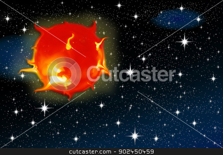 sun on a starry sky stock photo, solar flares of the sun against a backdrop of stars for air space by Cochonneau