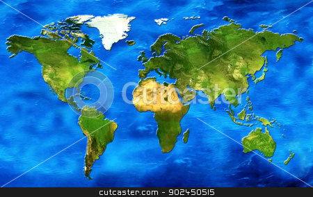 map of the world stock photo, chart of the world its continents and oceans in relief by Cochonneau