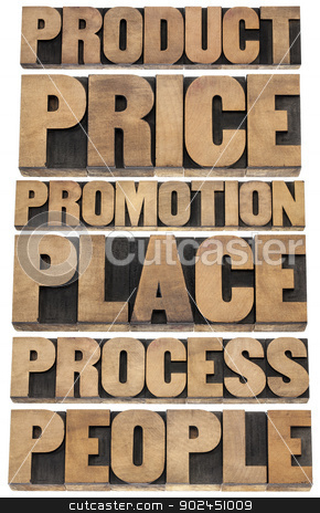 marketing strategy concept - 6P stock photo, marketing strategy concept - 6P of marketing - product, price, promotion, place, process, people - collage of isolated words in vintage letterpress wood type blocks by Marek Uliasz