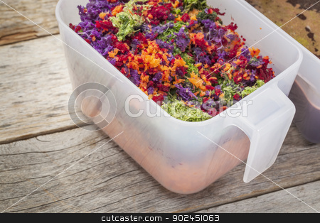 juicer vegetable pulp stock photo, colorful juicer pulp after juicing raw vegetables (carrot, red beat, cucumber, kale, red cabbage) - a plastic cup against barn wood background by Marek Uliasz