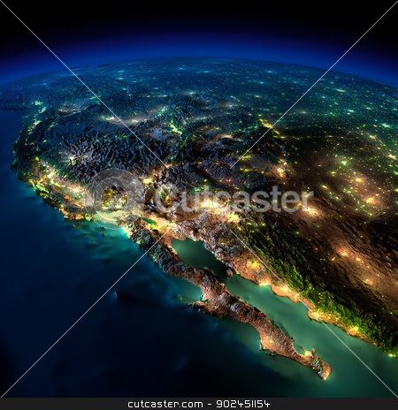 Night Earth. A piece of North America - Mexico stock photo, Highly detailed Earth, illuminated by moonlight. The glow of cities sheds light on the detailed exaggerated terrain and translucent water of the oceans. Elements of this image furnished by NASA by Antartis