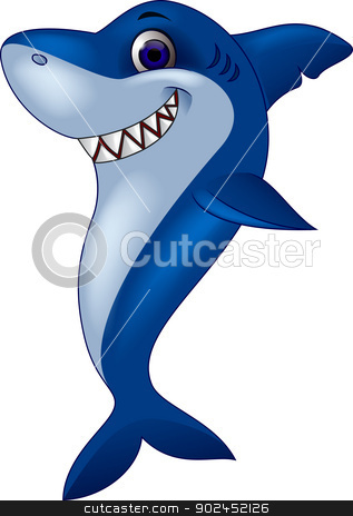 Smiling shark cartoon  stock vector clipart, Vector illustration of Smiling shark cartoon  by Teguh Mujiono