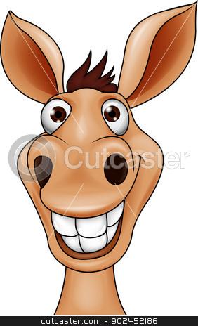 Smiling donkey head cartoon stock vector clipart, Vector illustration of Smiling donkey head cartoon by Teguh Mujiono
