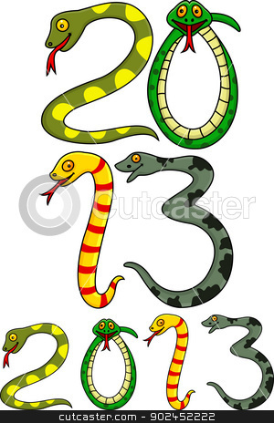 Year of snake cartoon stock vector clipart, Vector illustration of Year of snake  by Teguh Mujiono
