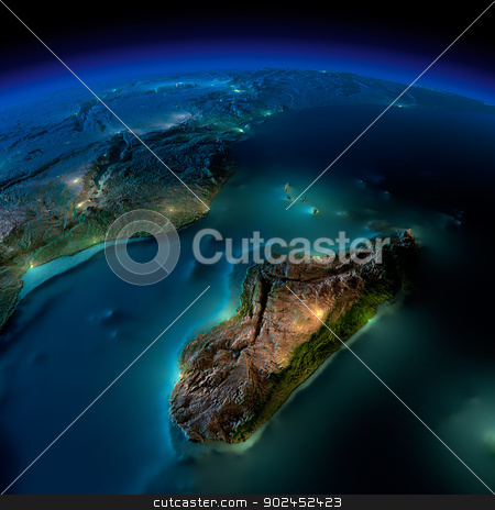 Night Earth. A piece of Africa - Mozambique and Madagascar stock photo, Highly detailed Earth, illuminated by moonlight. The glow of cities sheds light on the detailed exaggerated terrain and translucent water of the oceans. Elements of this image furnished by NASA by Antartis