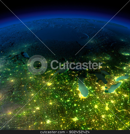 Night Earth. A piece of America - the northern U.S. states stock photo, Highly detailed Earth, illuminated by moonlight. The glow of cities sheds light on the detailed exaggerated terrain and translucent water of the oceans. Elements of this image furnished by NASA by Antartis
