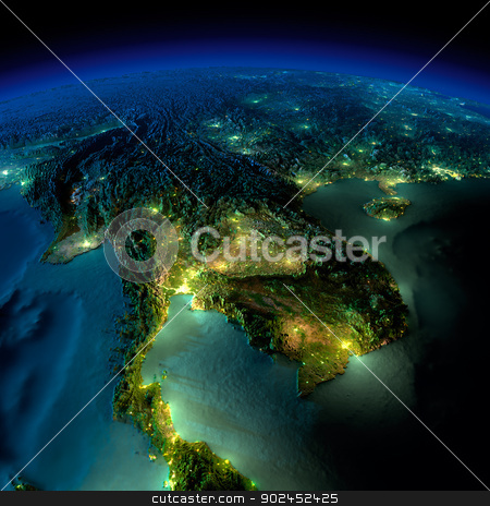 Night Earth. A piece of Asia - Indochina peninsula stock photo, Highly detailed Earth, illuminated by moonlight. The glow of cities sheds light on the detailed exaggerated terrain and translucent water of the oceans. Elements of this image furnished by NASA by Antartis