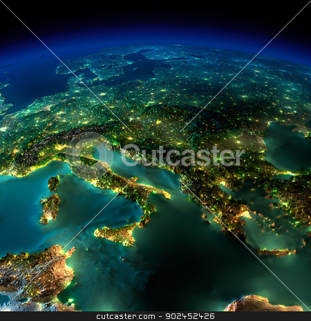 Night Earth. A piece of Europe - Italy and Greece stock photo, Highly detailed Earth, illuminated by moonlight. The glow of cities sheds light on the detailed exaggerated terrain and translucent water of the oceans. Elements of this image furnished by NASA by Antartis