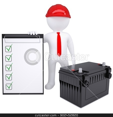 3d white man next to the car battery stock photo, 3d white man next to the car battery. Isolated render on a white background by cherezoff