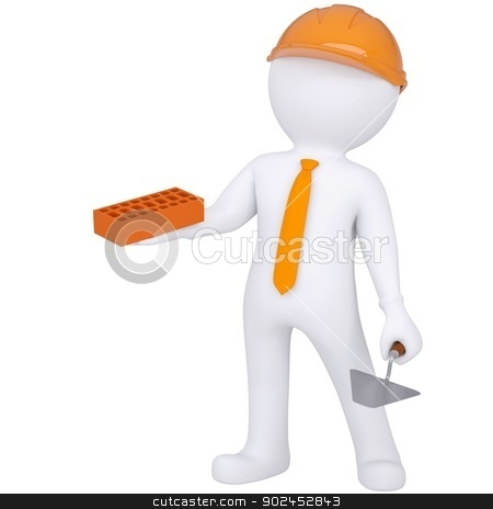 3d white man in helmet holding brick and trowel stock photo, 3d white man in helmet holding brick and trowel. Isolated render on a white background by cherezoff
