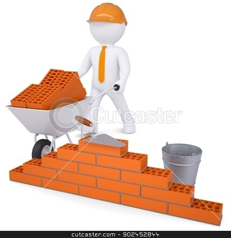 3d white man in a helmet builds a wall stock photo, 3d white man in a helmet builds a wall. Isolated render on a white background by cherezoff