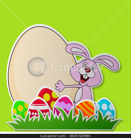 Paper card with rabbit cartoon and Easter egg stock vector clipart, Vector illustration of Paper card with rabbit cartoon and Easter egg by Teguh Mujiono