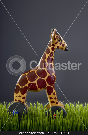 Wooden Toy Giraffe. stock photo, Wooden toy with room for your type. by WScott