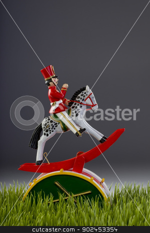 Wooden Toy Solder and Horse. stock photo, Wooden toy with room for your type. by WScott
