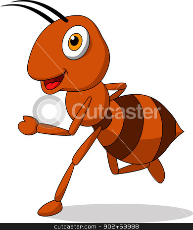 Cute ant cartoon running stock vector clipart, Vector illustration of Cute ant cartoon running by Teguh Mujiono