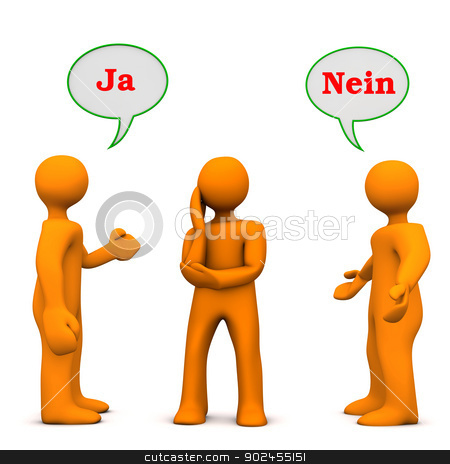 Influence Yes No stock photo, Orange cartoon characters with german text ja and nein, translate yes and no. by Alexander Limbach