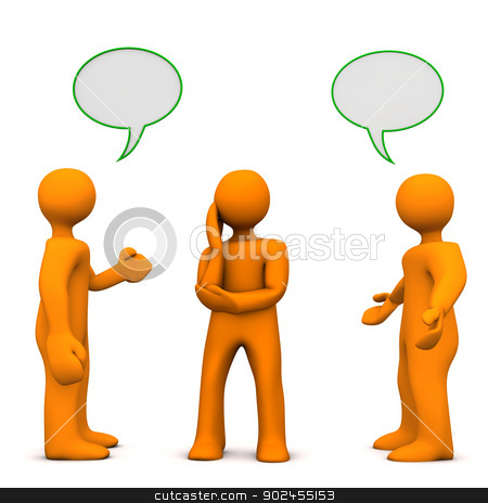 Influence stock photo, Two orange cartoon characters affects the other one. by Alexander Limbach