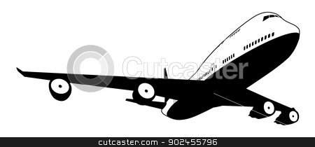 Black and white plane stock vector clipart, A black and white illustration of a stylised commercial jet plane by Christos Georghiou