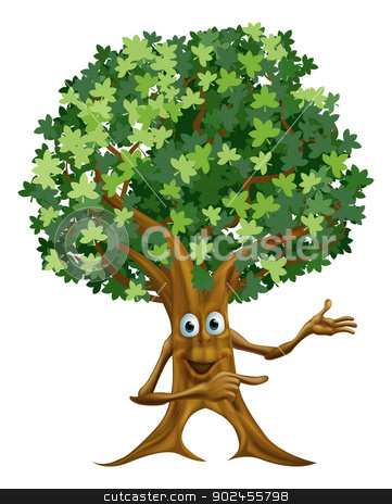 Tree man pointing illustration stock vector clipart, Drawing of a happy friendly tree man character pointing at something by Christos Georghiou