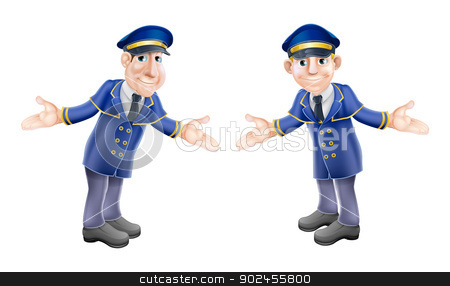 Doormen or bellhops stock vector clipart, A cartoon illustration of two welcoming hotel or venue doormen or bellhops in their blue and gold uniforms by Christos Georghiou