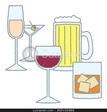 Various Glasses of Alcohol stock vector clipart, An assortment of alcoholic beverages in various glasses. by Jamie Slavy