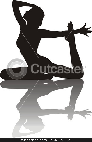 Young Woman practicing Yoga stock vector clipart, vector llustration of silhouette of a young woman yoga instructor   by Čerešňák