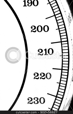 Scale Numbers stock photo, Segment of a scale with the numbers 190-230 by Henrik Lehnerer