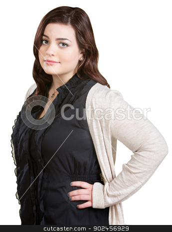 Lady with Hands on Hips stock photo, Skeptical pretty Caucasian woman with hands on hips by Scott Griessel