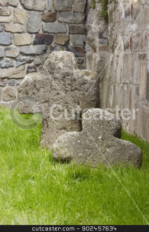 medieval tomb stock photo, Old medieval tomb and stone cross by Siloto