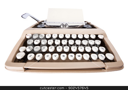 Typewriter stock photo, Typewriter with sheet of paper isolated on white background with clipping path by Darren Pullman