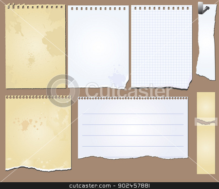 vector grunge scrapbook elements tablet paper stock vector clipart, Vector set of the grunge scrapbooks tablets and papers by Siloto