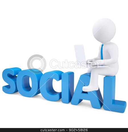 3d white man with laptop sitting on the word SOCIAL stock photo, 3d white man with laptop sitting on the word SOCIAL. Isolated render on a white background by cherezoff