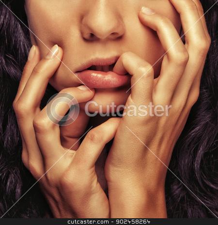 closeup detail girl face stock photo, closeup detail cosmetics girl face and hands and fingers by Zdenek Fotoduki Kintr