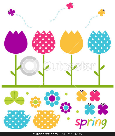 Colorful spring tulips set isolated on white stock vector clipart, Cute spring design elements. Vector Illustration by BEEANDGLOW