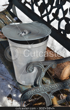 Tree Tapping Utensils stock photo, The tools for collecting maple sap - a spigot, cover and bucket, rest on an outdoor country bench. by Maria Bell