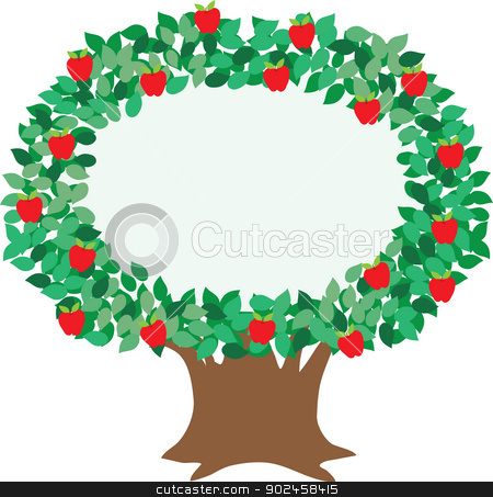 Apple Tree stock vector clipart, An isolated, stylized illustration of an apple tree, designed to embellish and focus attention on your message.  by Maria Bell