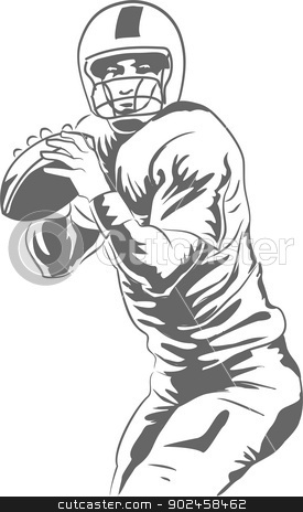 American Football Player stock vector clipart, Vector illustration of a football quarterback about to throw a winning pass. by PhotoEstelar